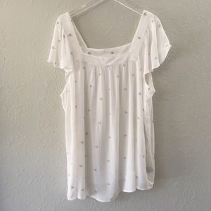 Torrid White Floral Embroidered Blouse / Top 2